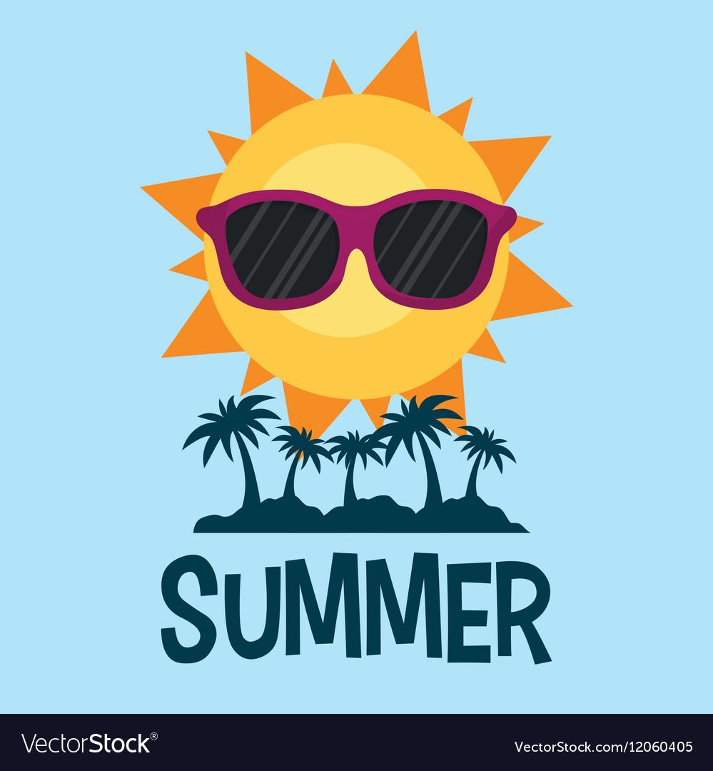 Summer poster palms sun glasses