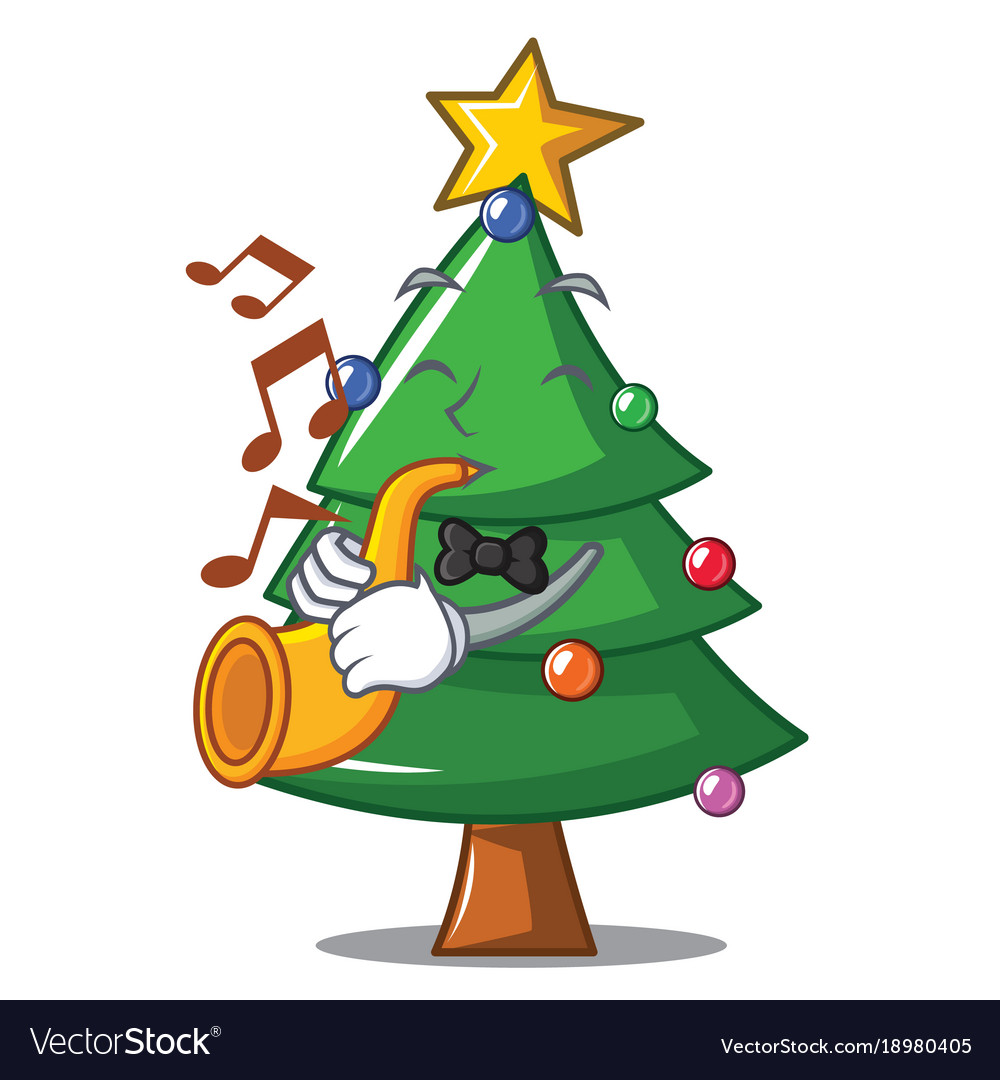 Christmas Trumpet Images.With Trumpet Christmas Tree Character Cartoon