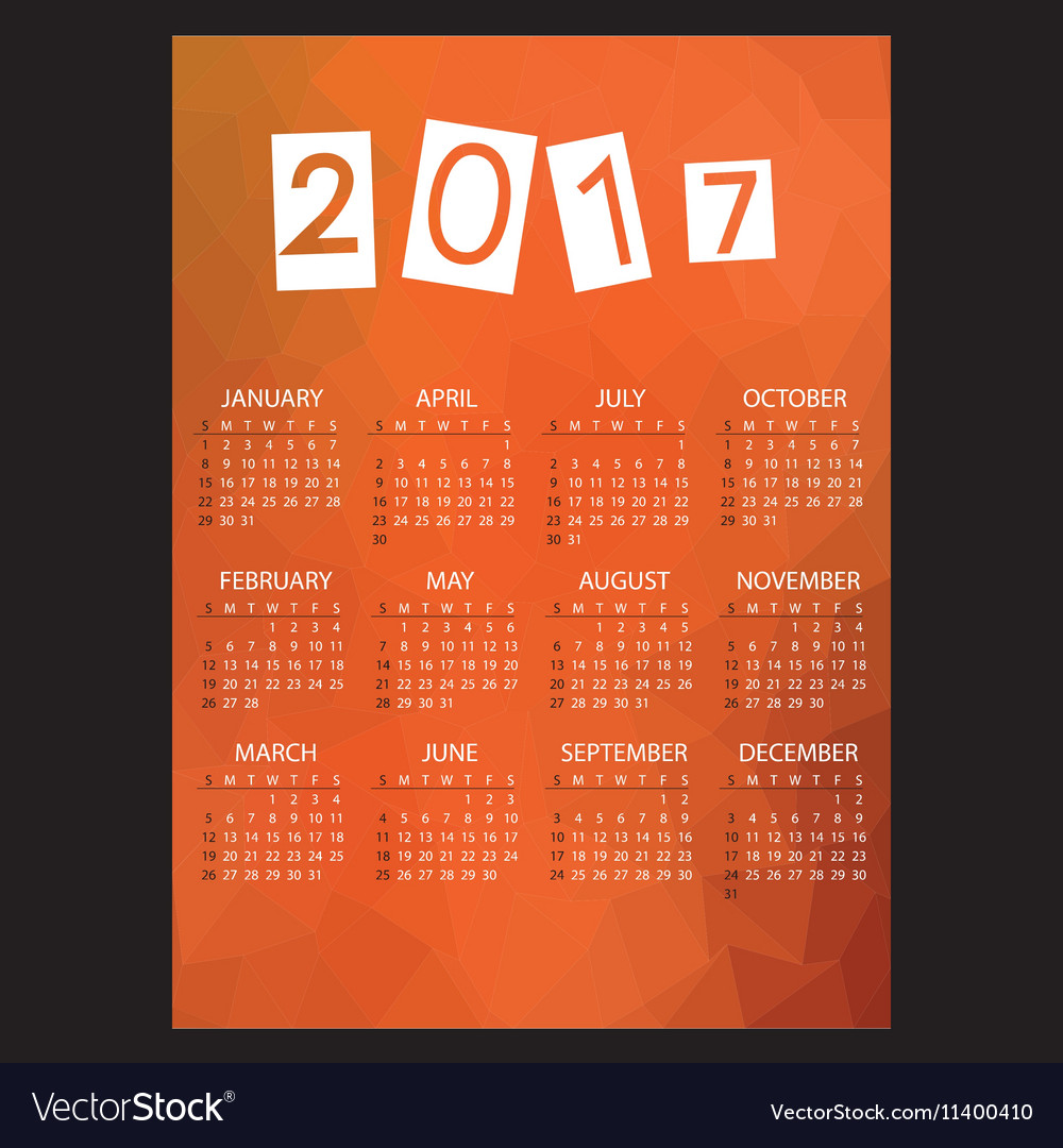 2017 simple business wall calendar with low