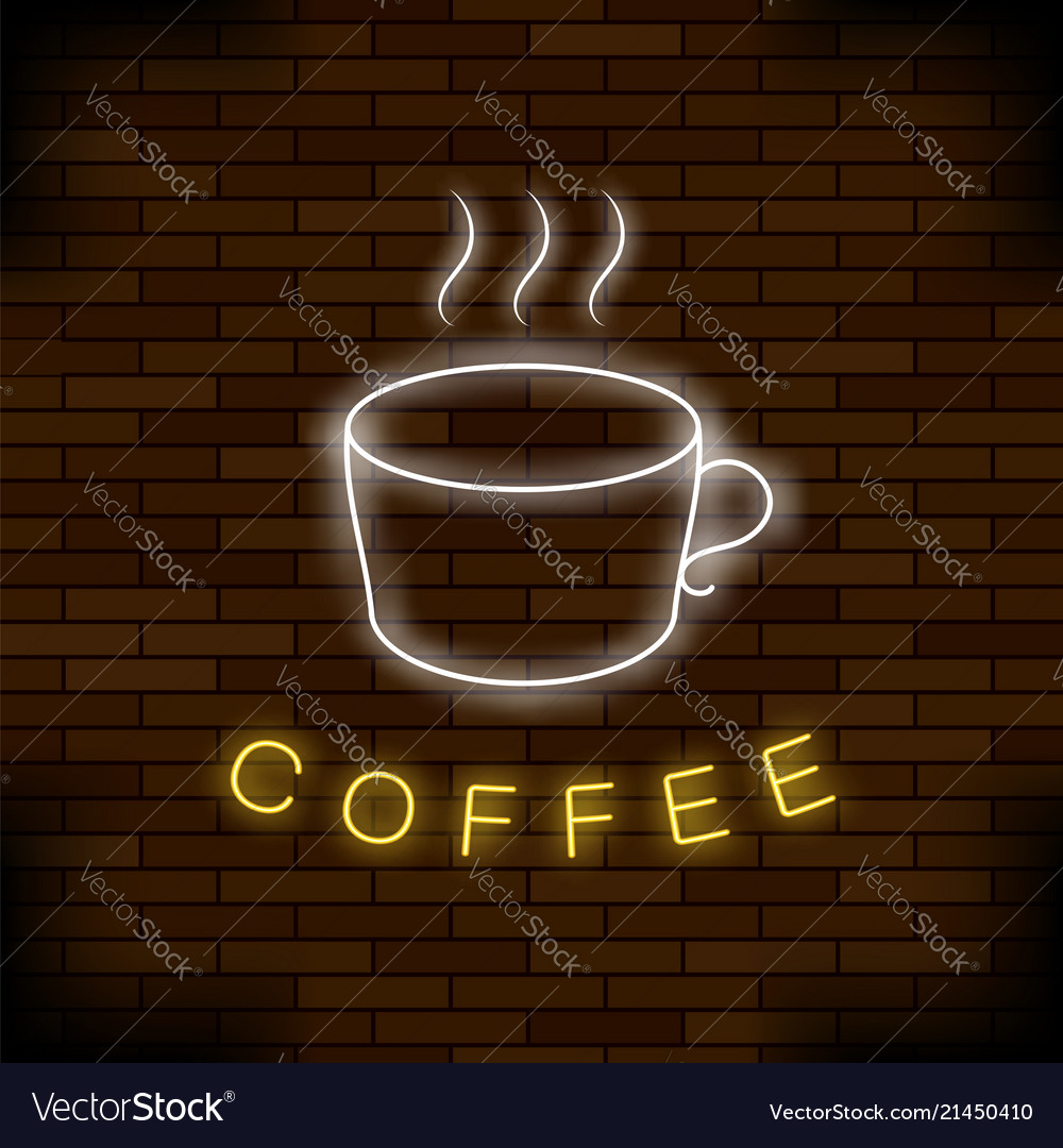 Colored neon coffee cup night city banner