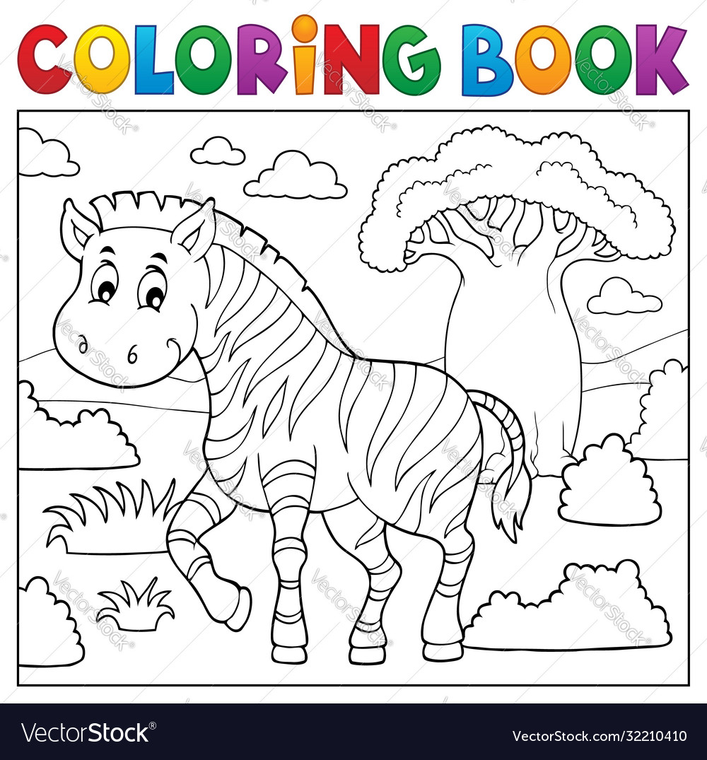 Coloring Book African Nature Topic 4 Royalty Free Vector