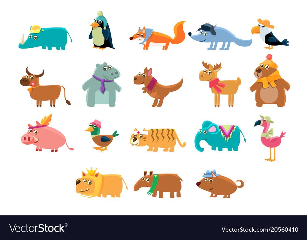 Cute animals big set in bright colors childish