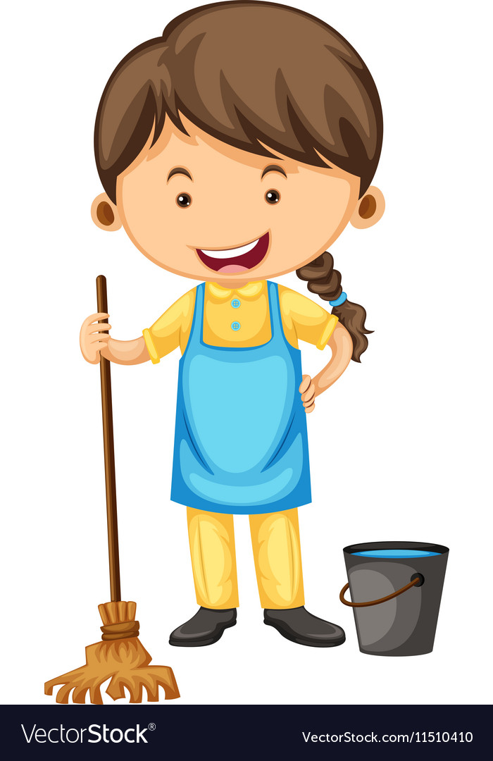 Female cleaner with broom and bucket vector image