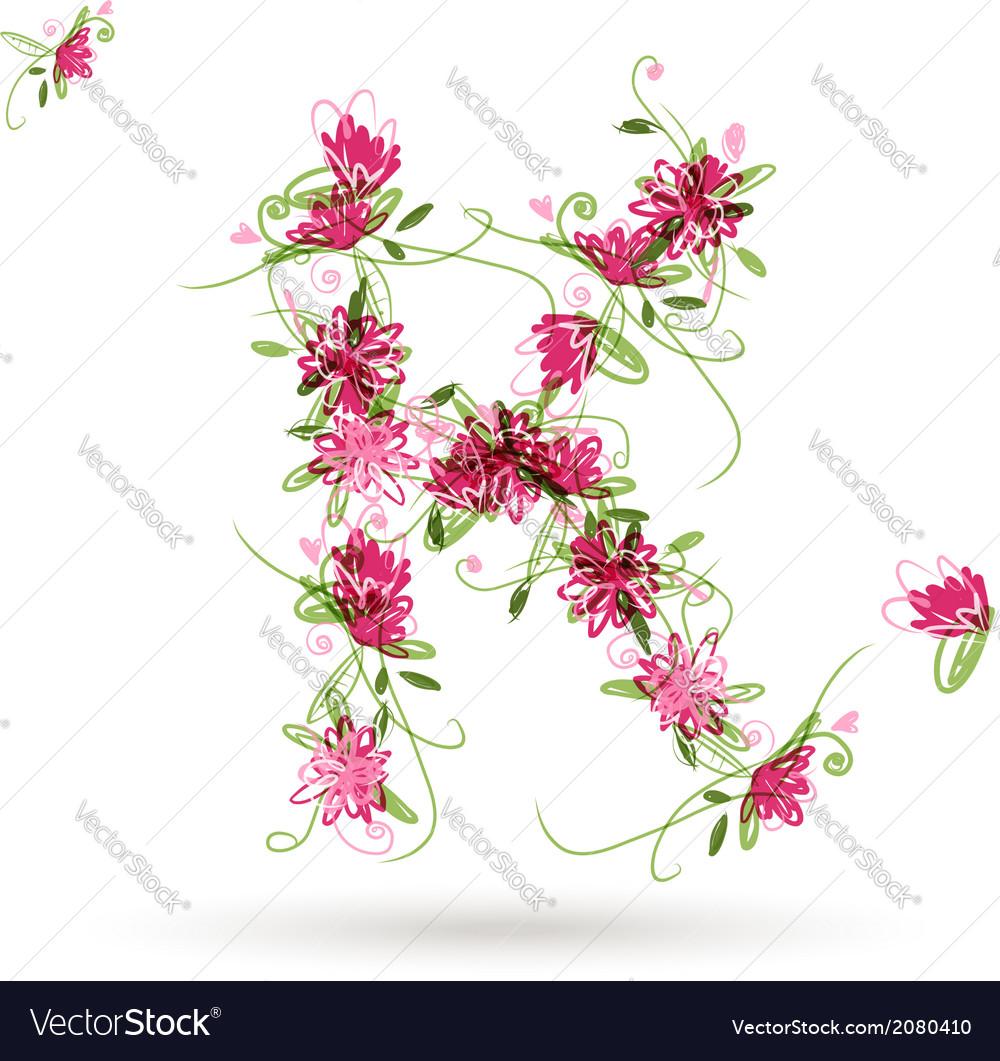 Floral letter K for your design Royalty Free Vector Image