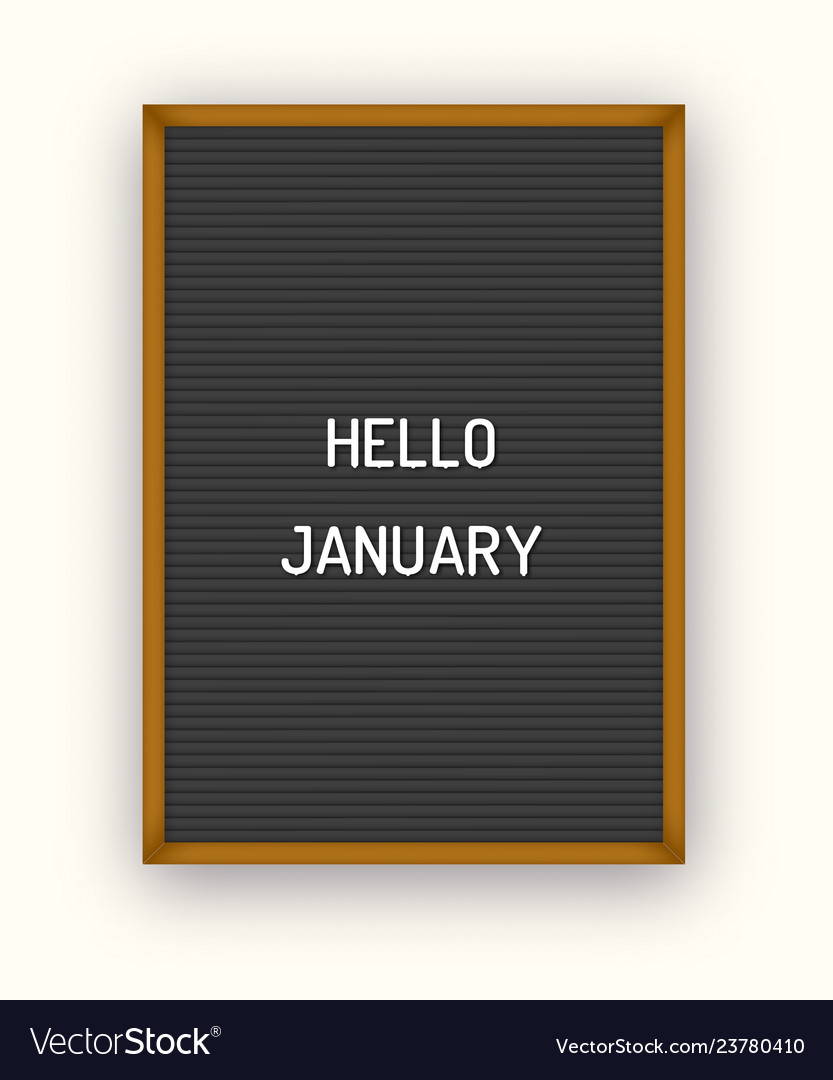 Hello january motivation quote on black