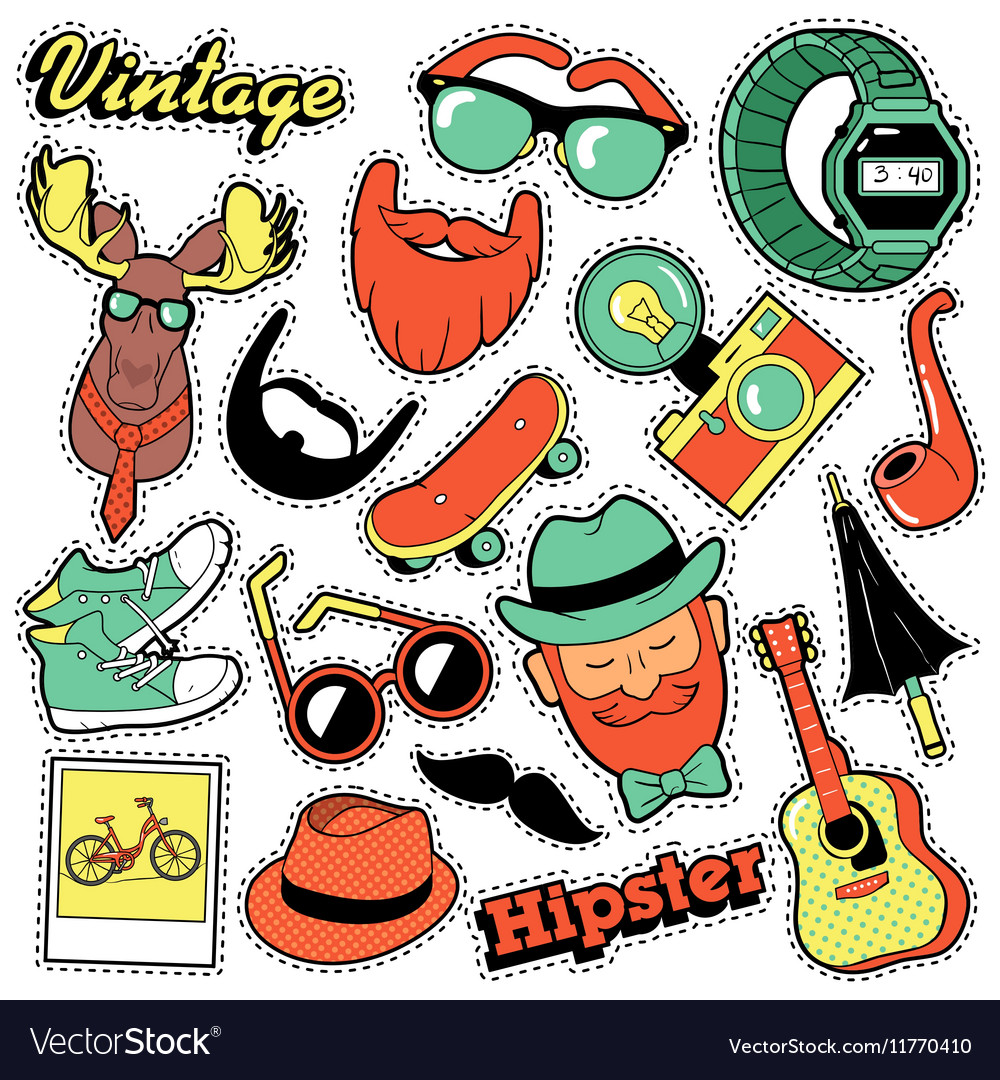 Hipster Vintage Fashion Stickers Patches Badges
