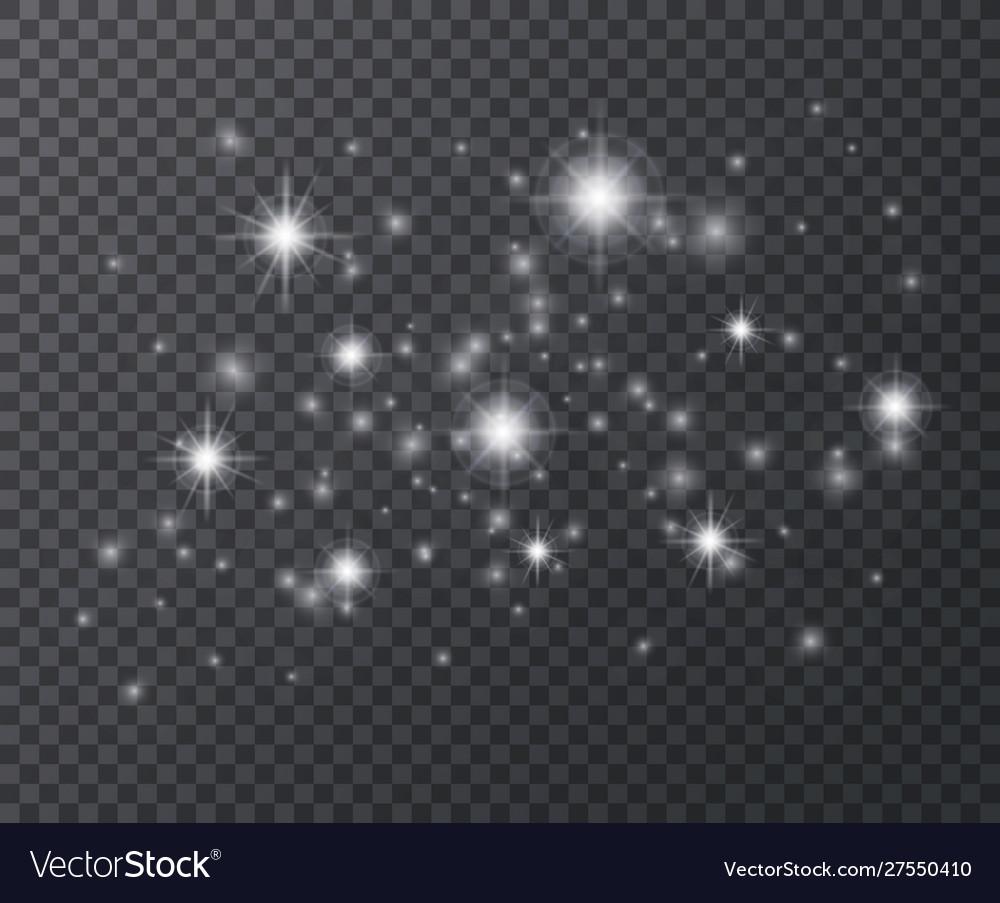 Light effect white sparks and star glittering