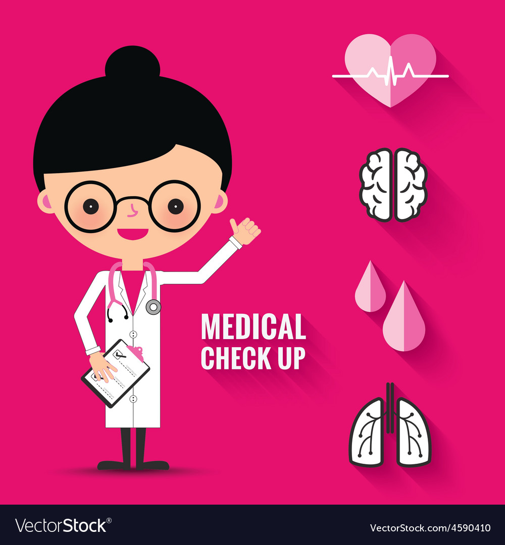 Medical check up with woman doctor characters