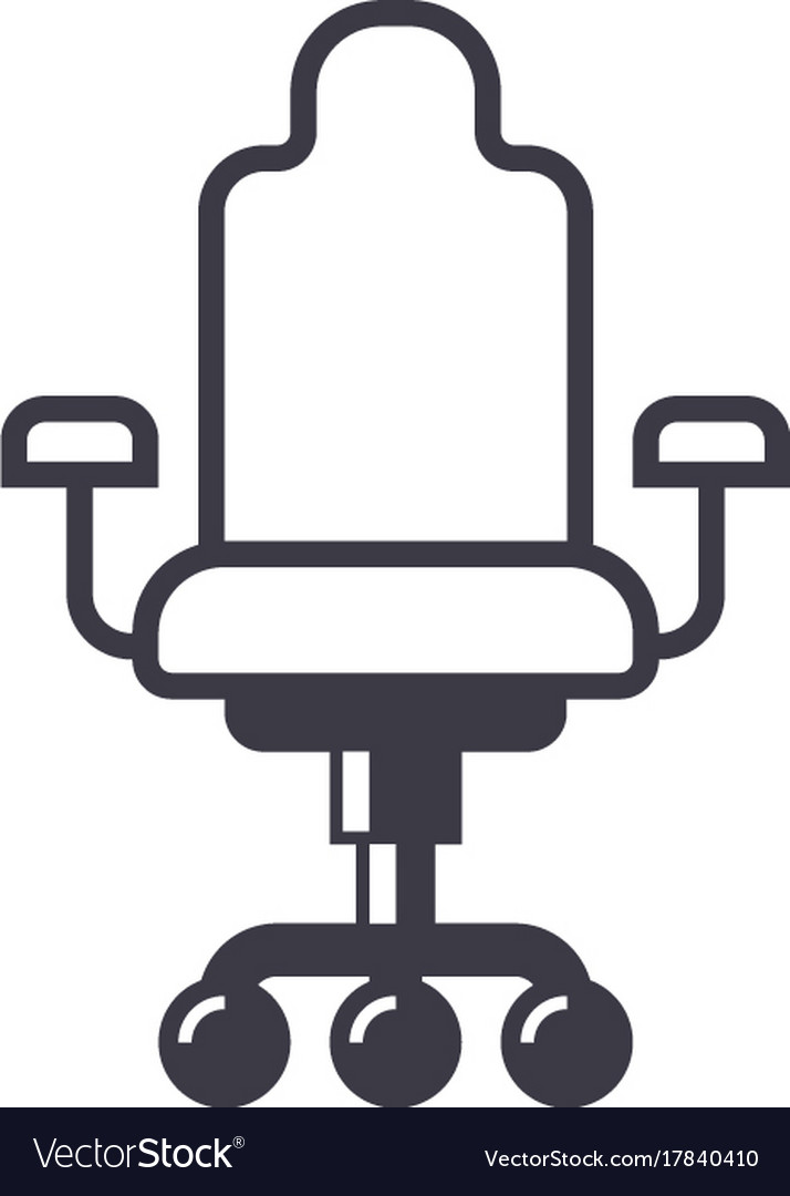 Office chair line icon sign vector image