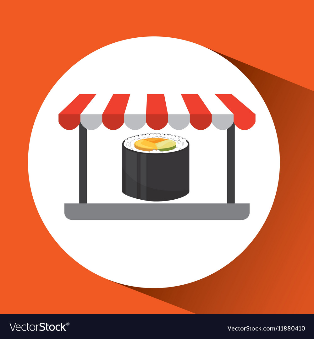 Payment credit card delivery food fresh sushi vector image