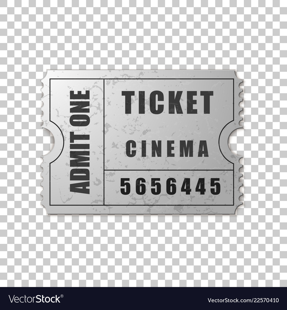 Realistic silver cinema ticket isolated object