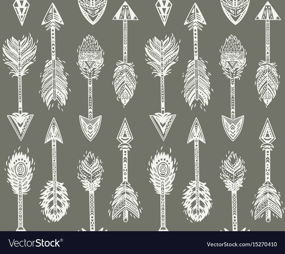 Seamless pattern with native american indian