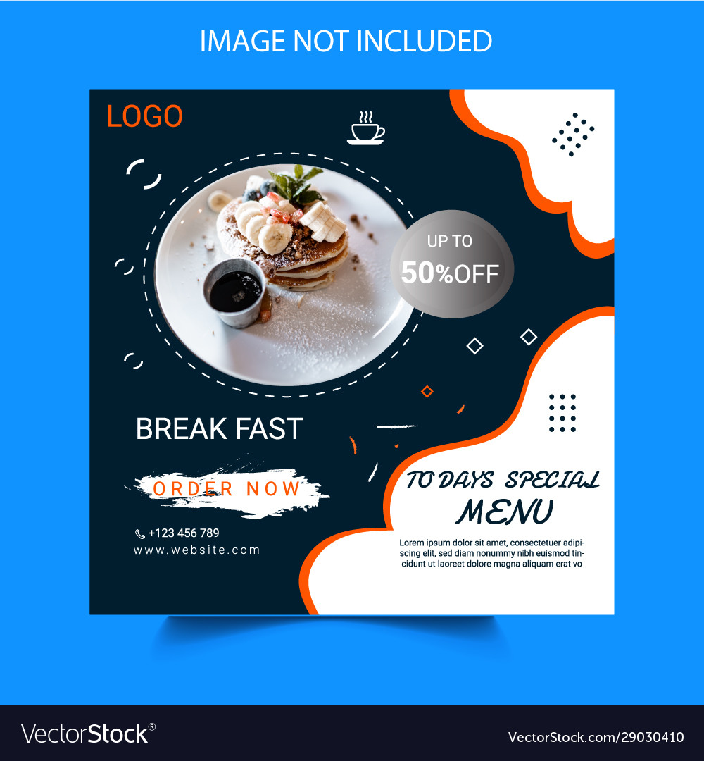 Social Media Post Template Design For Food Banner Vector Image
