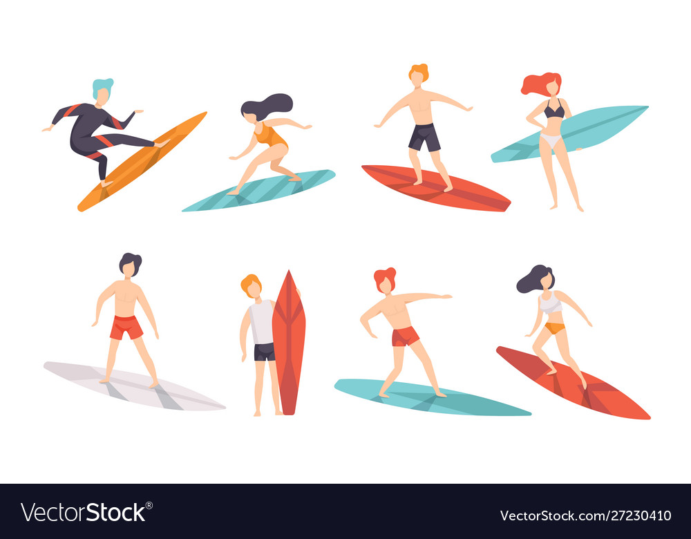 Surfer people riding surfboards set young women