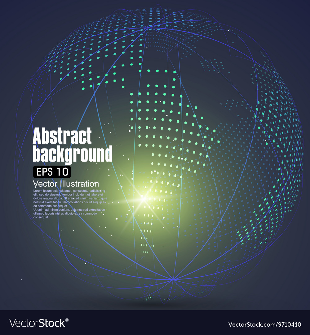 Three-dimensional abstract planet dots vector image