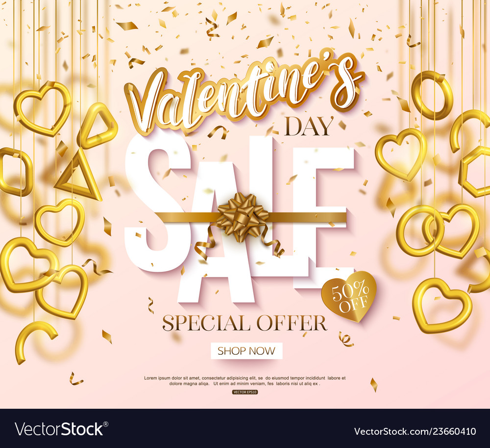 Valentines day sale banner design with hanging 3d