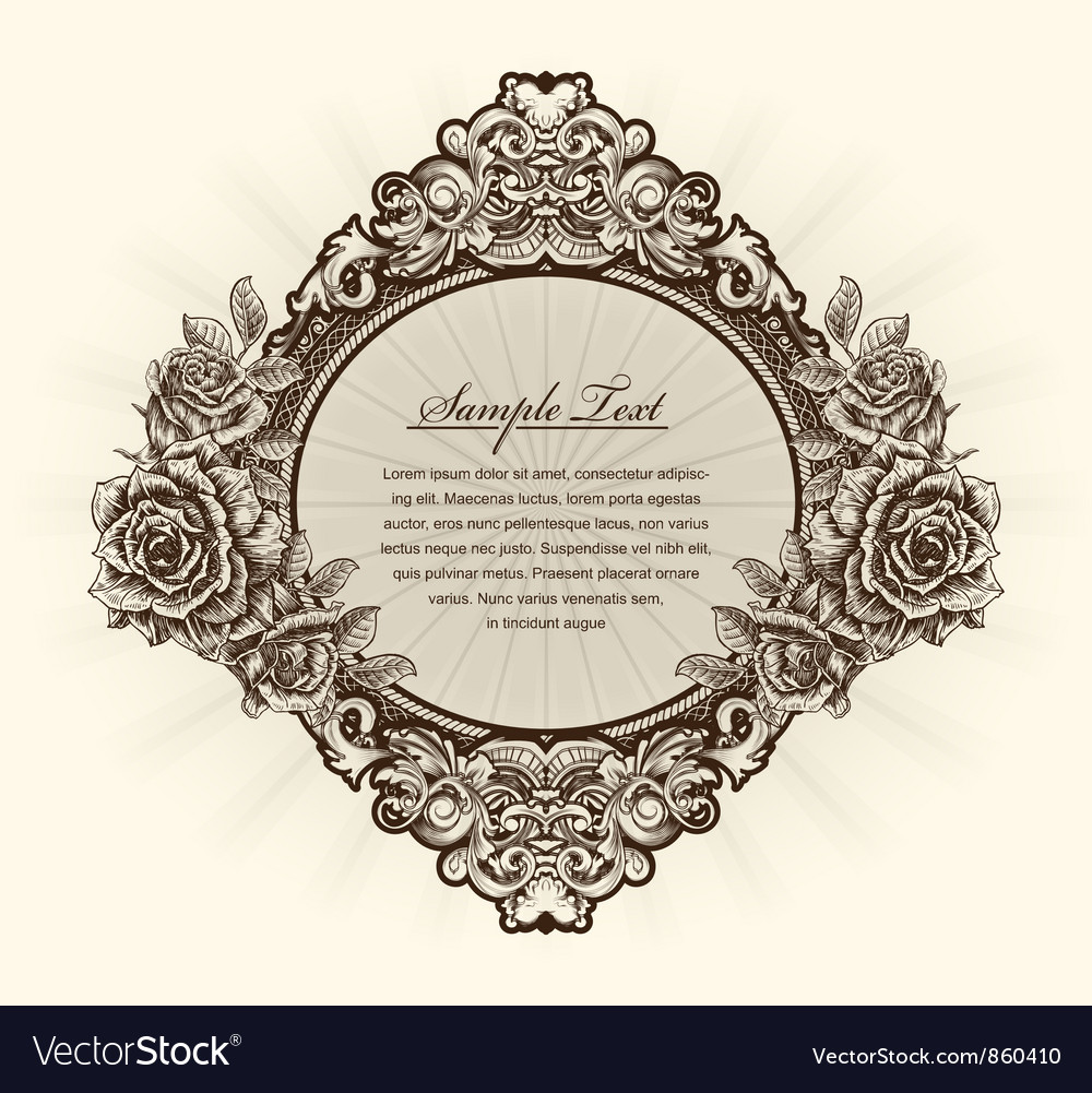Vintage label with roses