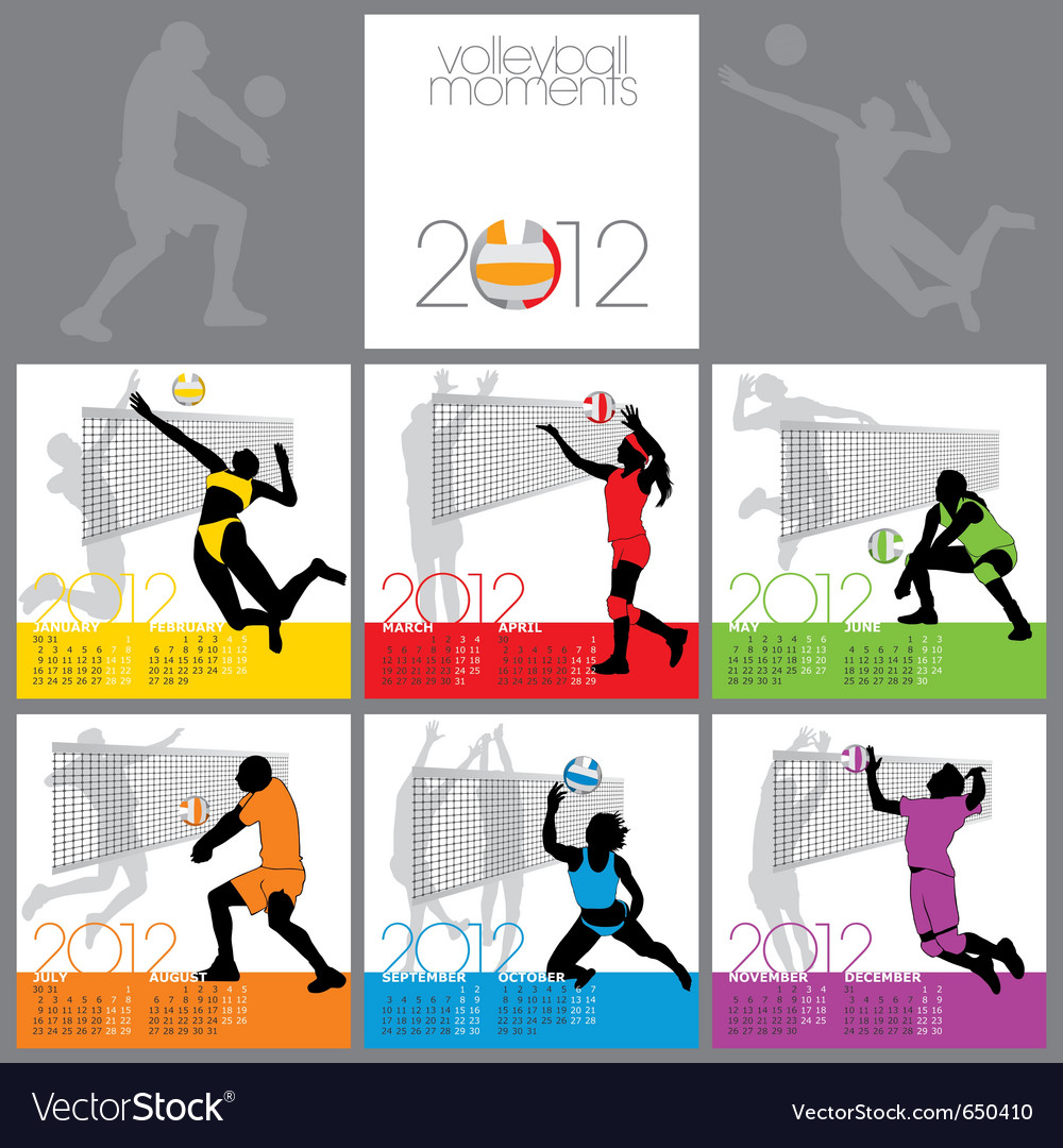 Volleyball Moments 2012 Calendar Template Vector Image