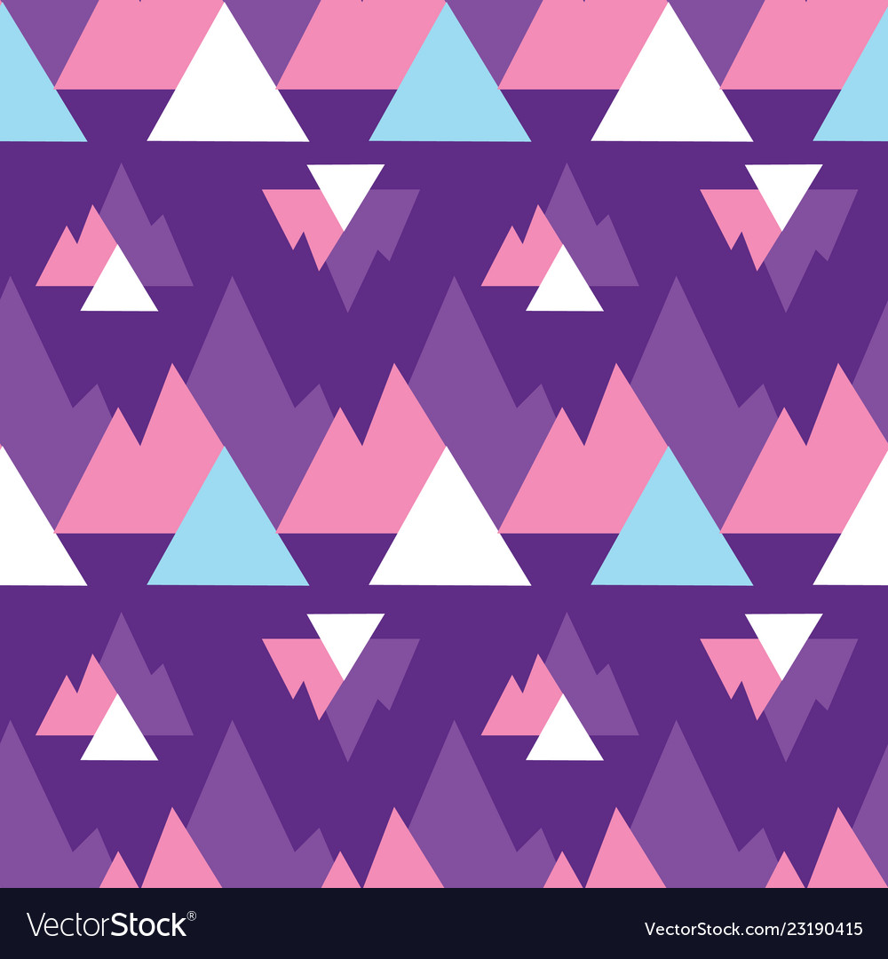 Abstract purple mountains triangles print pattern