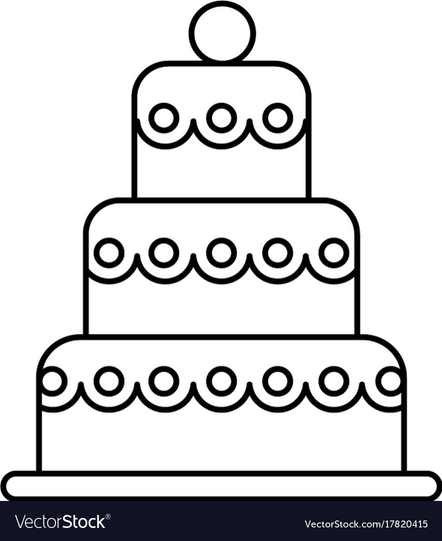 Big wedding cake line icon sign