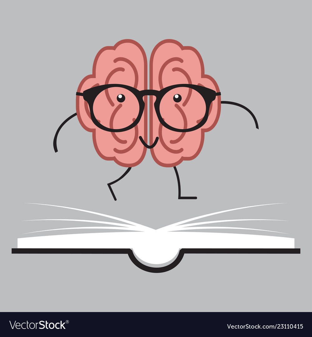 Brain with glasses and book human design
