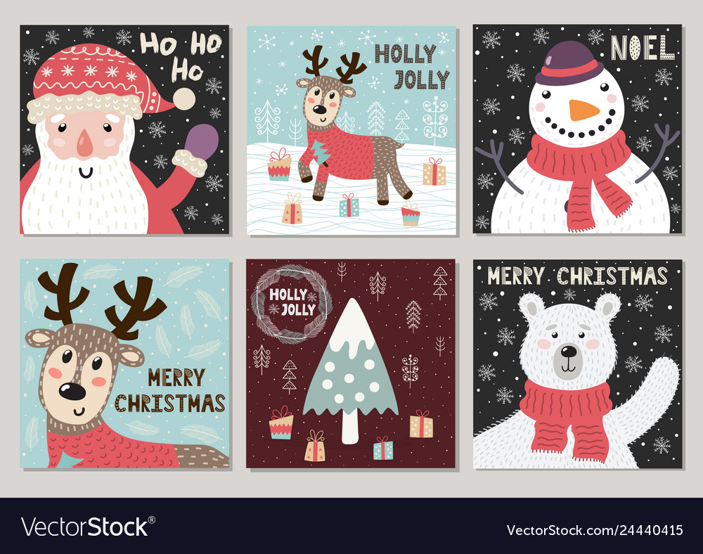 Christmas cute greeting cards collection