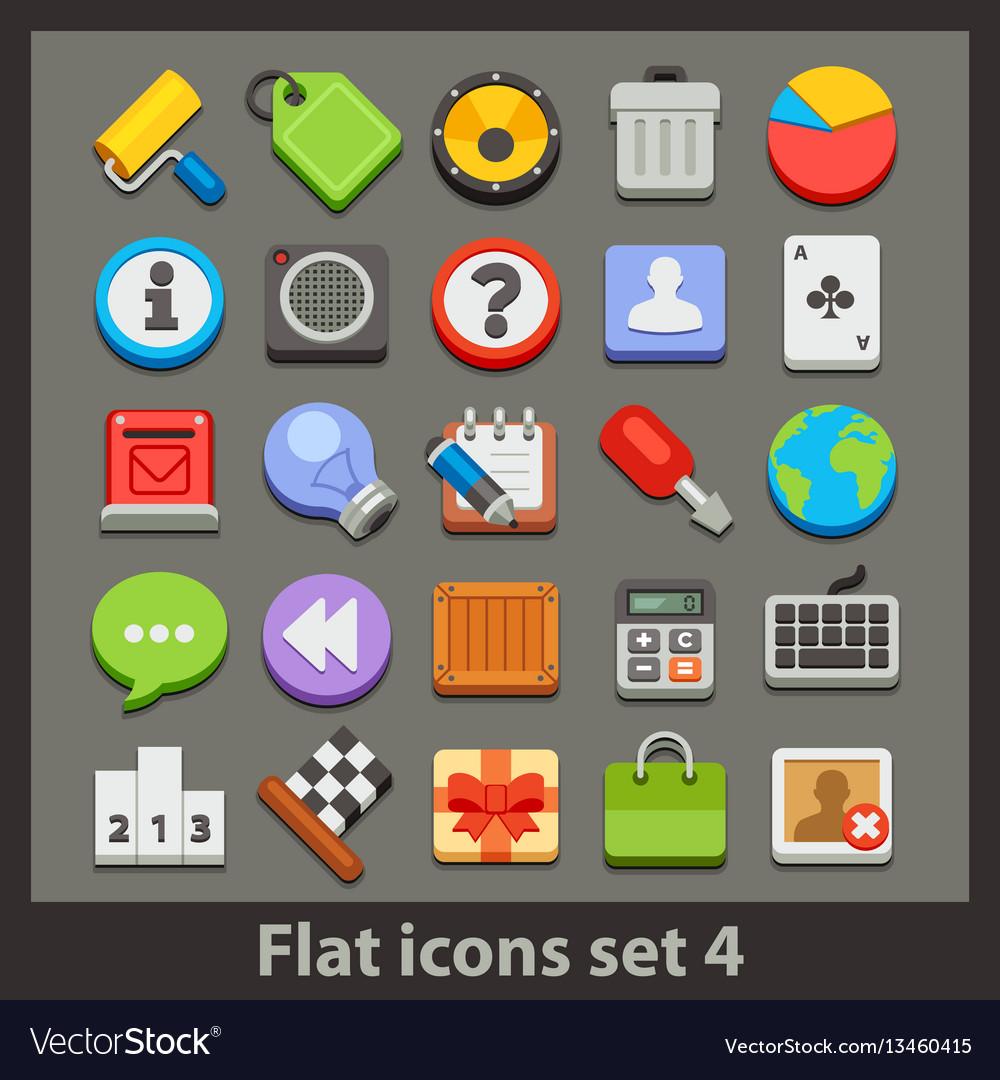 Flat icon-set 4 vector image