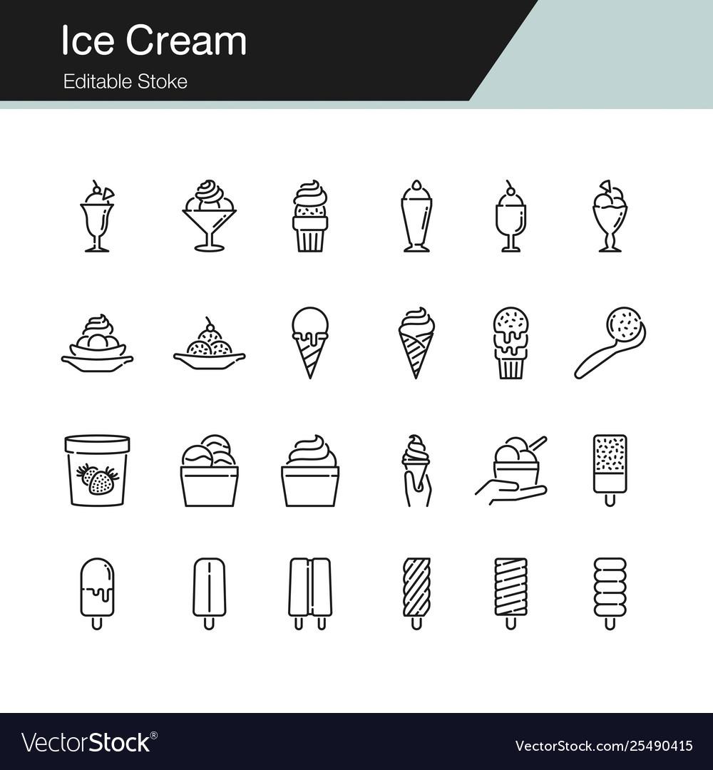 Ice cream icons modern line design for