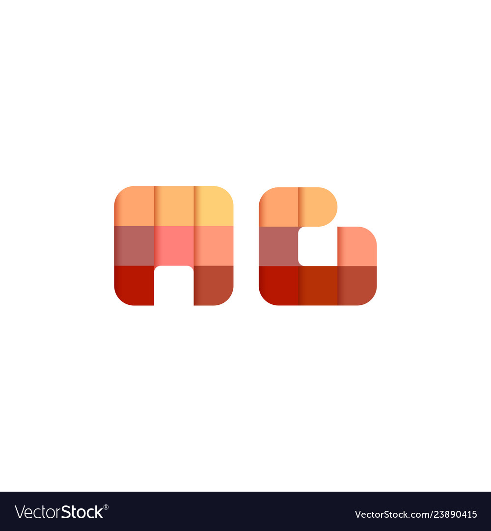 Initial Letters Ag A G Square Pixel Logo Design