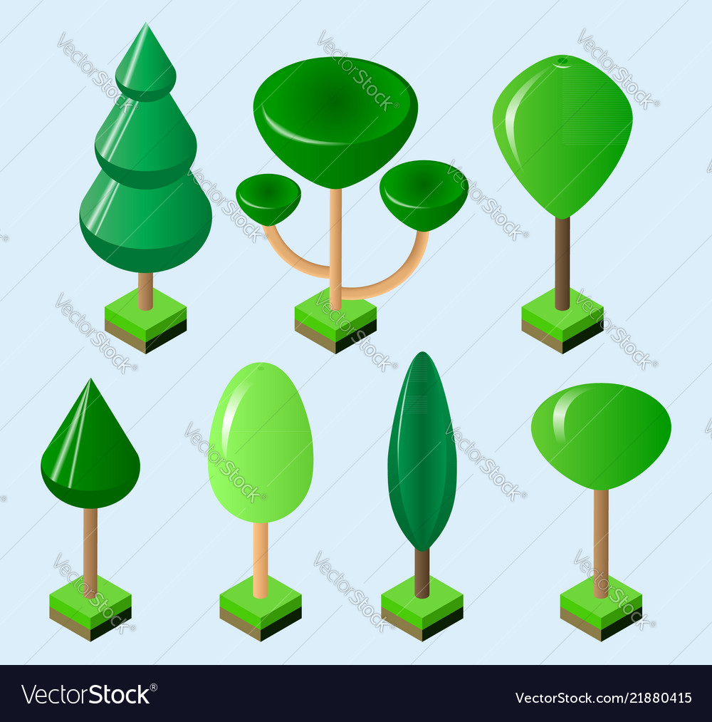Isometric set of green trees of various shapes