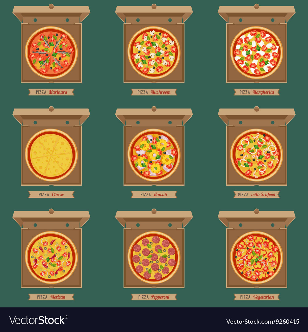 Pizzas in the opened cardboard boxes