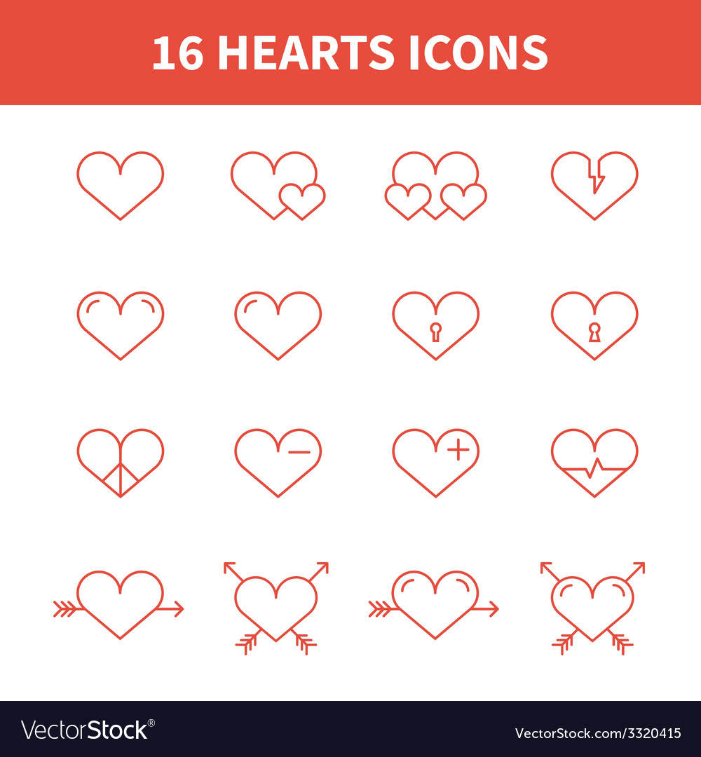 Set of heart iconssymbolsign in flat style Hearts vector image