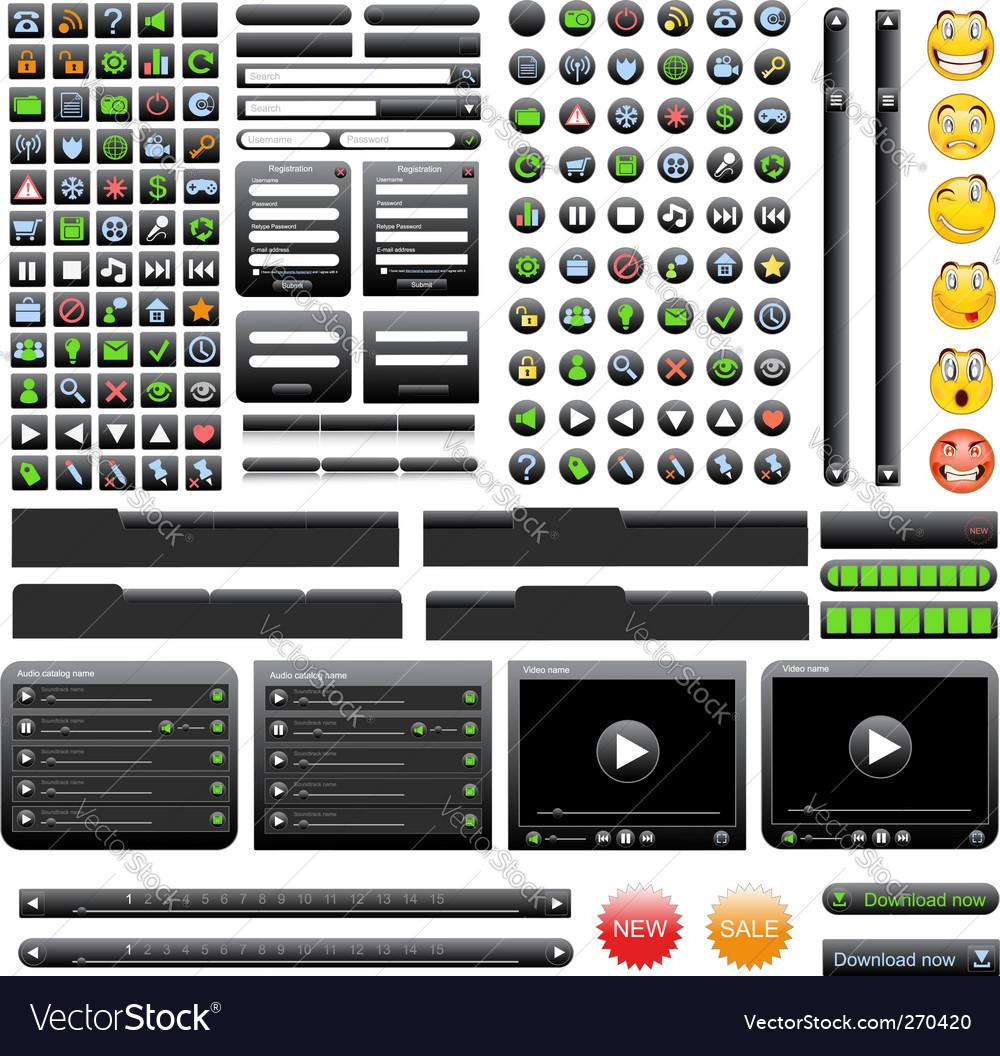 Black web design elements set