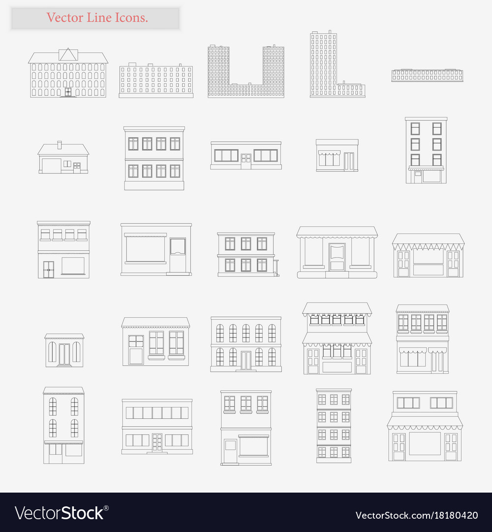 Building set style line icons on white