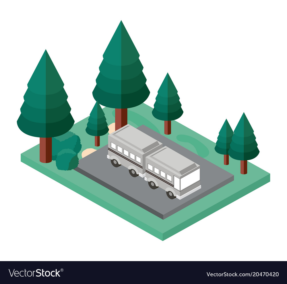 Bus parking and trees scene isometric icon vector image