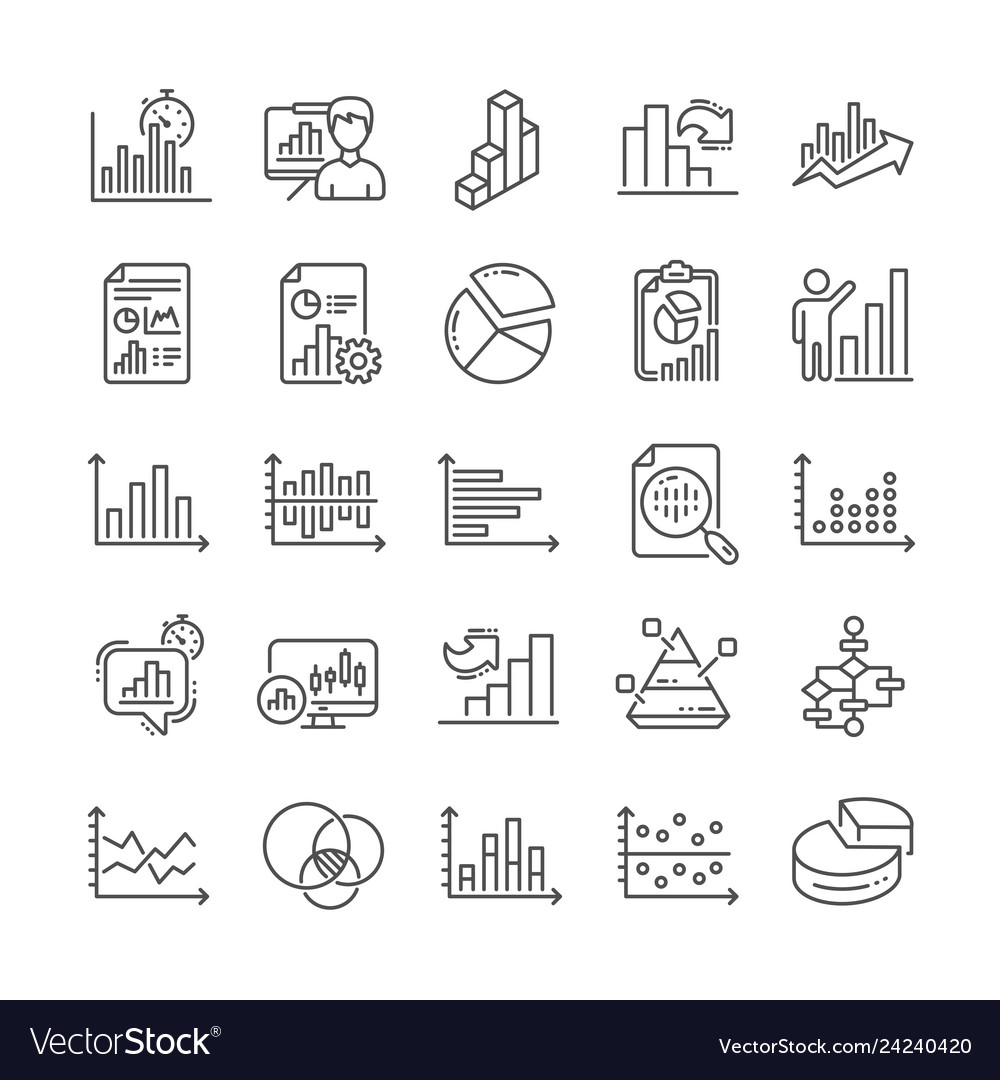 Charts and diagrams line icons set of 3d chart