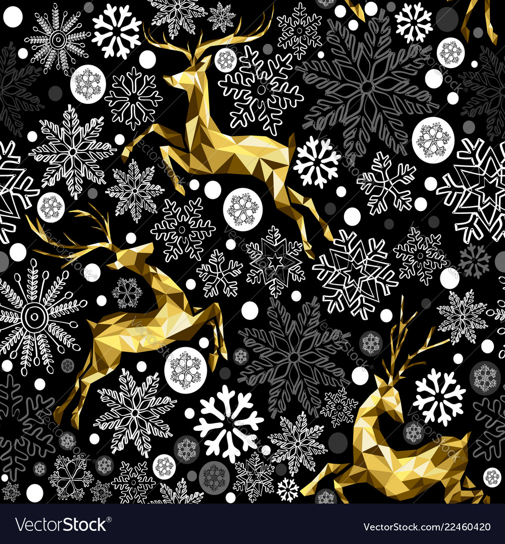 Christmas gold reindeer and snow seamless pattern