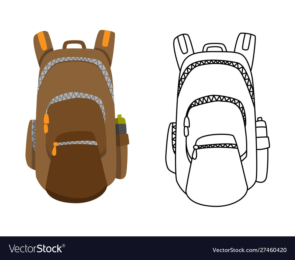 Colorful camping backpack in flat design with