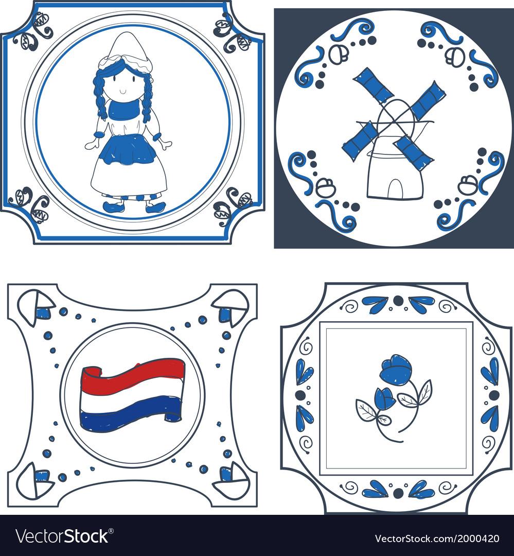 Dutch tiles hand drawn