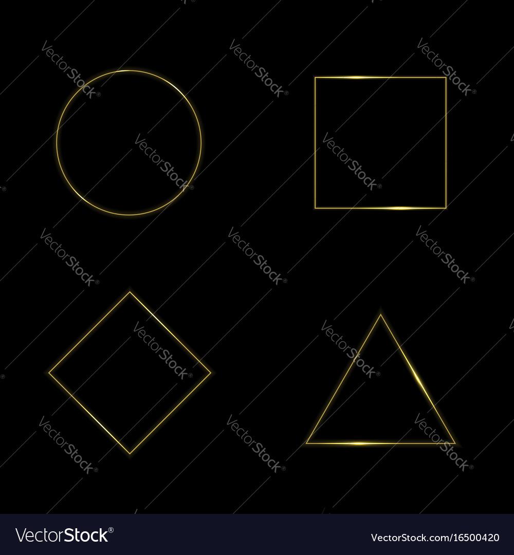 Golden geometric shapes vector image