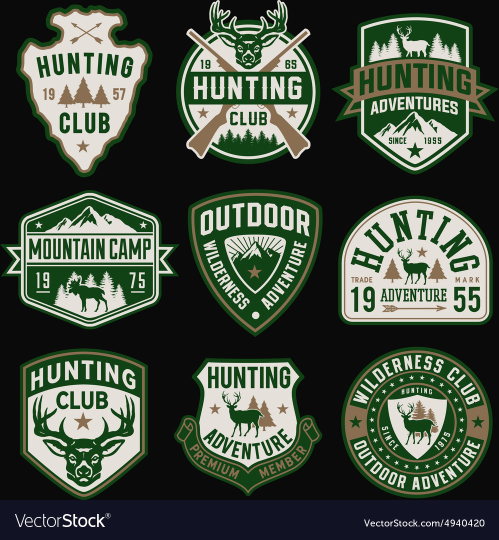 Hunting and Outdoor themed badges and emblem colle vector image