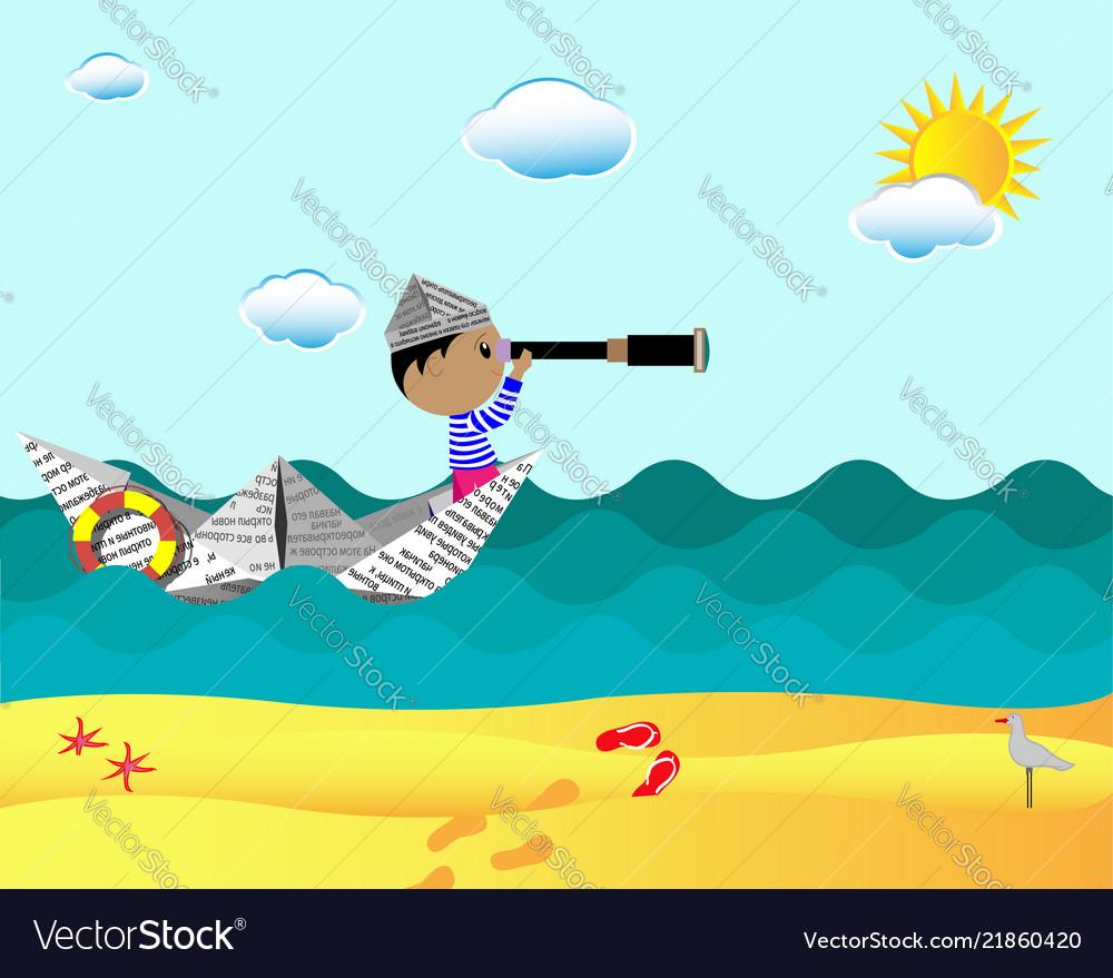 Little explorer explorer floating on a paper boat