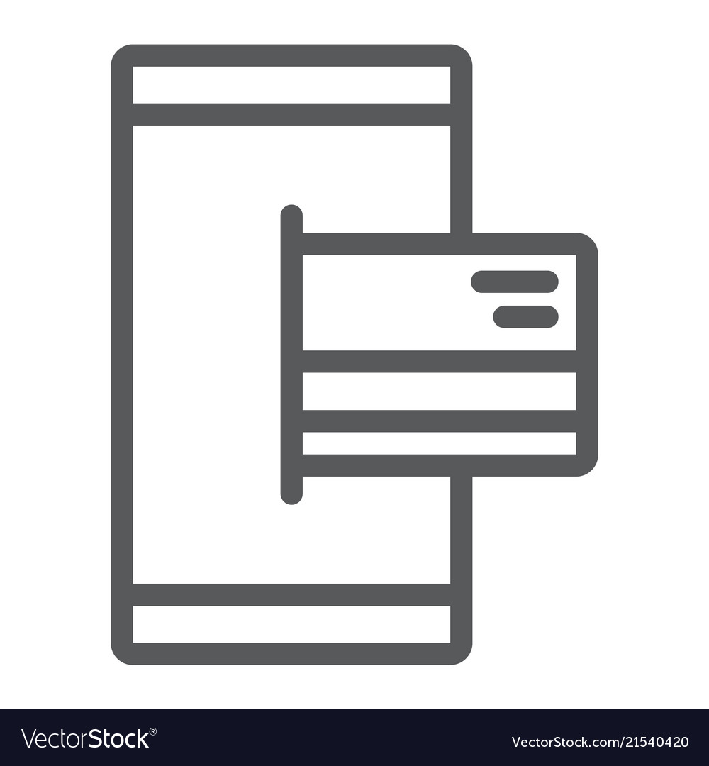 Mobile banking line icon finance and banking