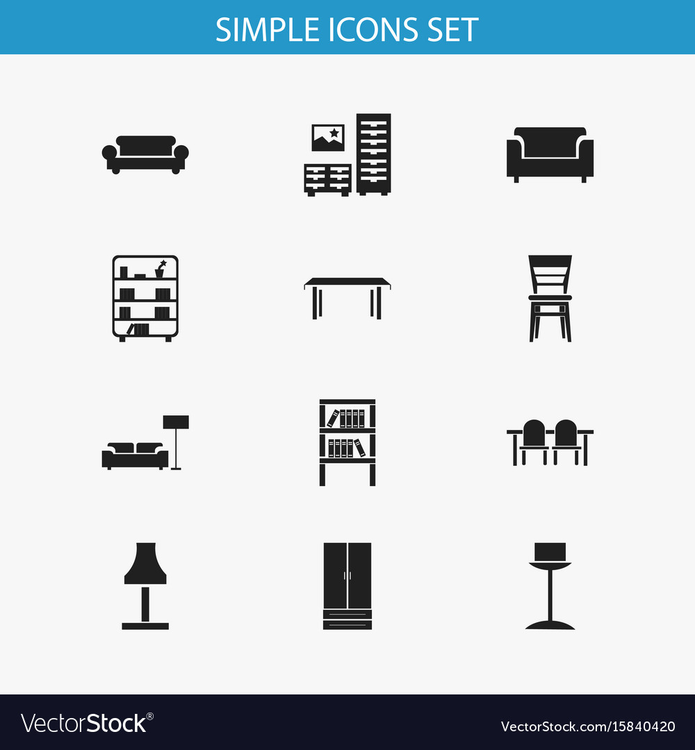 Set of 12 editable furnishings icons includes
