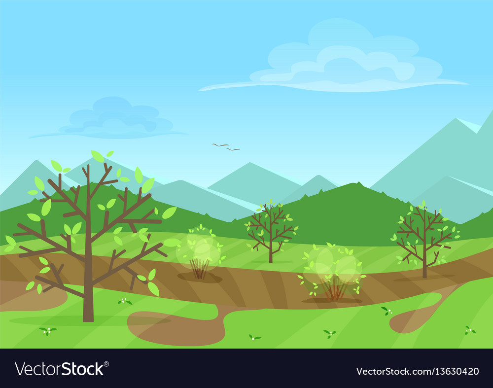 The peaceful green landscape with mountains and