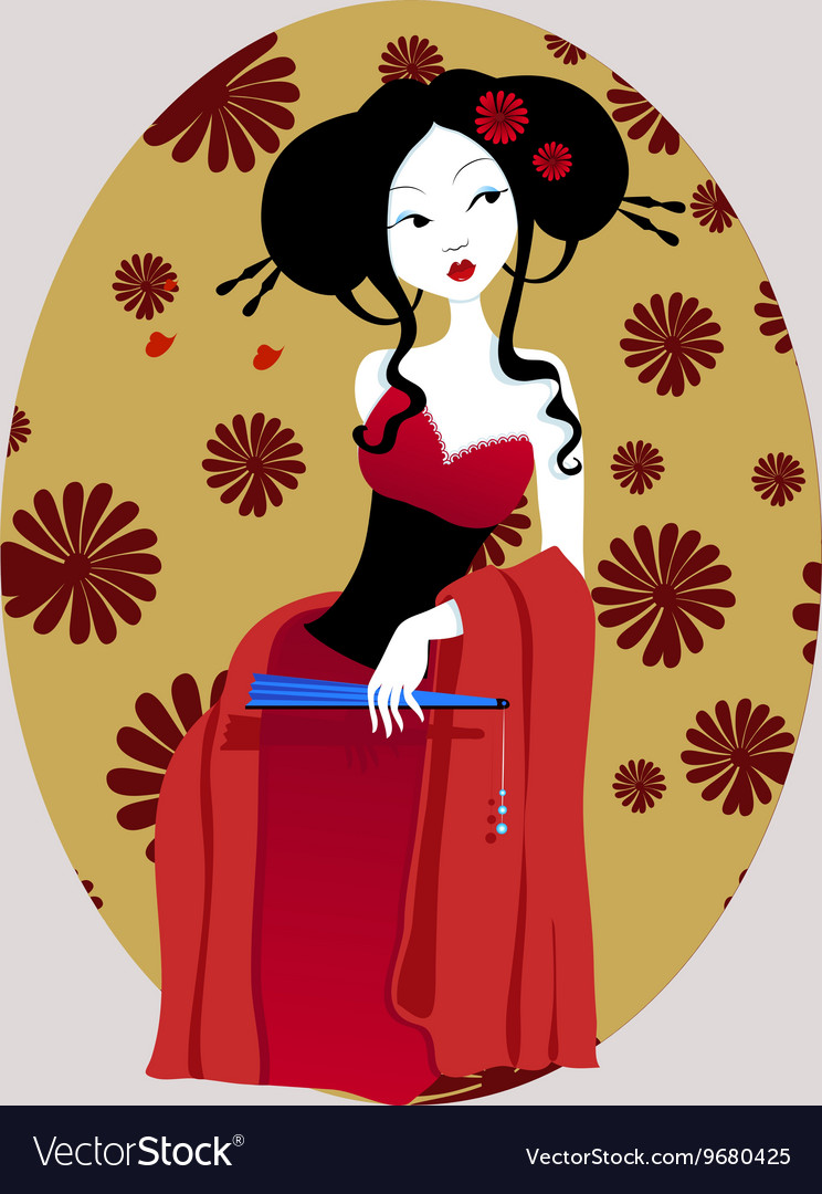 A beautiful geisha in red dress