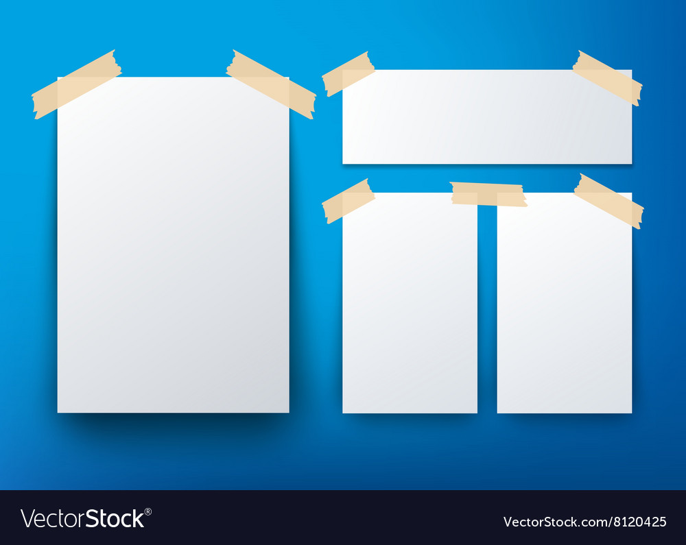 blank flyer template over blue background vector image