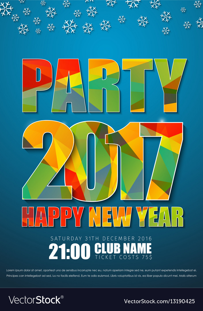 Blue poster design for New Years party in 2017