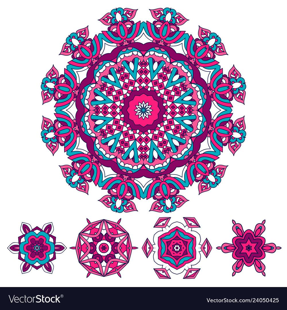 Colorful round ethnic mandala
