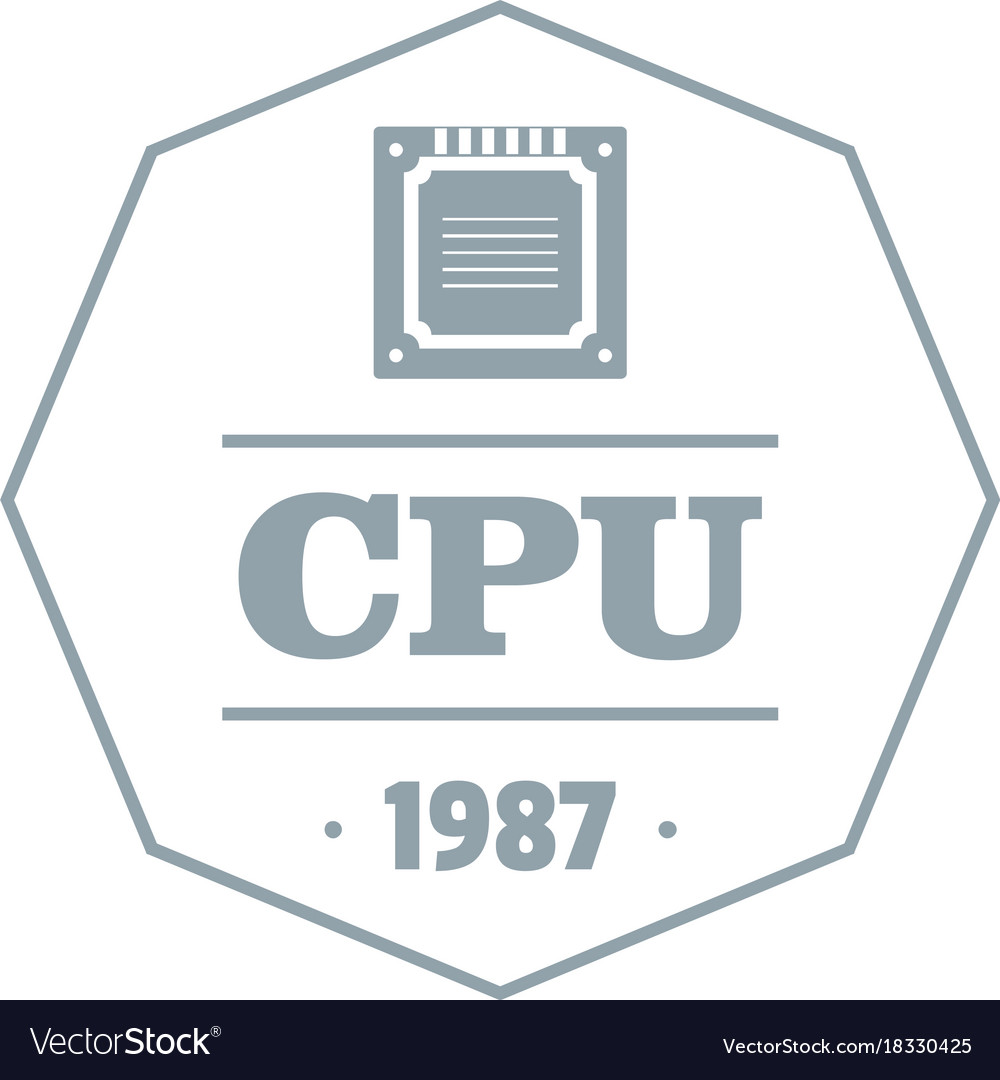 cpu logo simple gray style royalty free vector image cpu logo simple gray style royalty free vector image